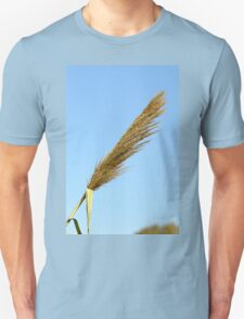 flowering Reed growing on the a River blue sky background Unisex T-Shirt