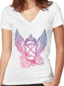 Winged Hourglass Women's Fitted V-Neck T-Shirt