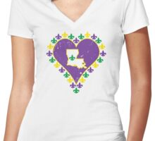 Mardi Gras Louisiana Fleur de Lis Heart Women's Fitted V-Neck T-Shirt