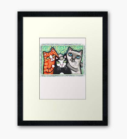 Siamese Tabby and Tuxedo Cats Posing T-Shirt  Framed Print