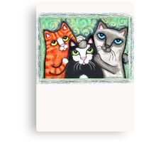Siamese Tabby and Tuxedo Cats Posing T-Shirt  Canvas Print