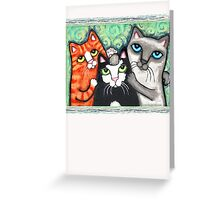 Siamese Tabby and Tuxedo Cats Posing T-Shirt  Greeting Card