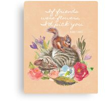 Unusual Animal Friendship Cat and Squirrel Natural Canvas Print