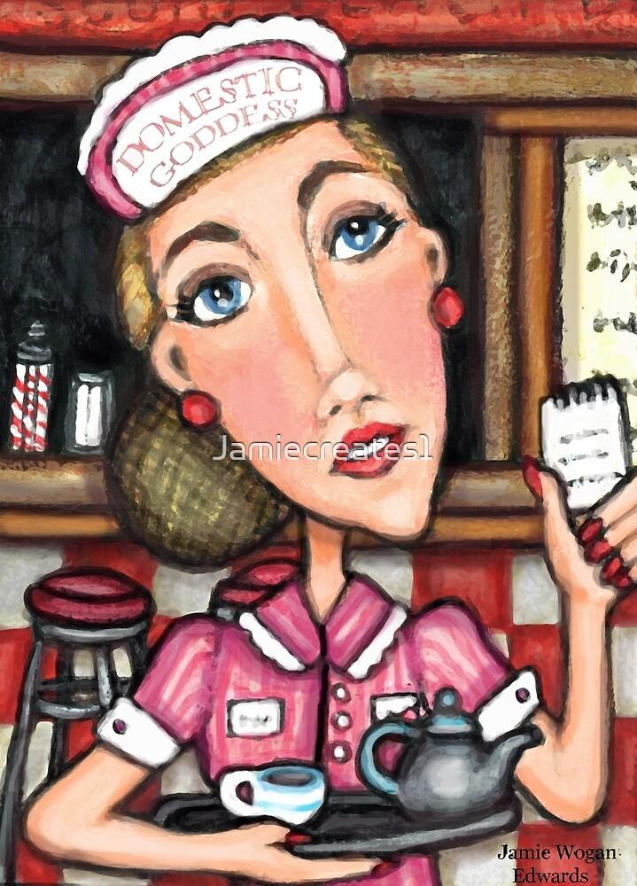 Retro Diner Diva Art Print by Jamie Wogan Edwards