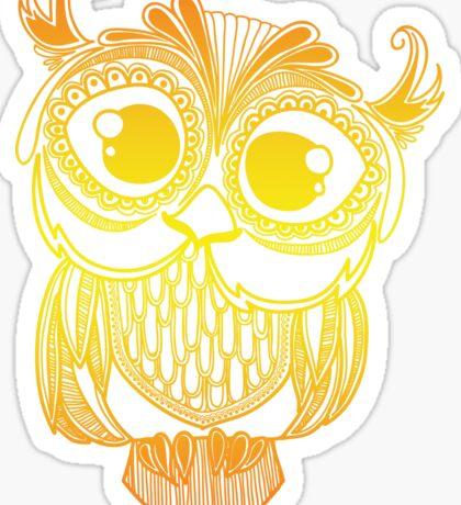 Owl mandala - orange gradient Sticker
