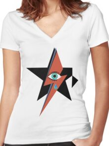 David Bowie : A rock star went to heaven Women's Fitted V-Neck T-Shirt