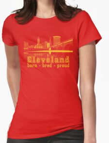 Heritage Park reflecting in the Cuyahoga river. Womens Fitted T-Shirt
