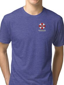 Umbrella Corporation Red And White Tri-blend T-Shirt