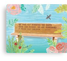 L. Brown Earth Quote Bench Art Canvas Print