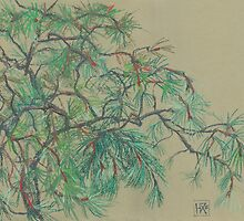Pine-tree pastel sketch by clipsocallipso