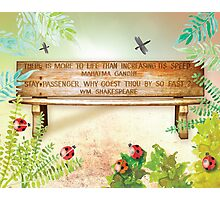 Gandhi and Shakespeare Quotes Bench Photographic Print