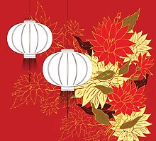 Chinese Lantern with Flowers 3 by AnnArtshock
