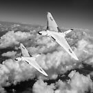 Two Avro Vulcan B1 nuclear bombers BW version by Gary Eason