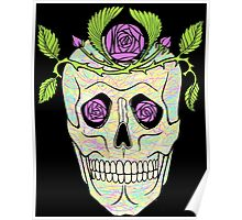Pirate skull with flowers wreath vector illustration. Poster