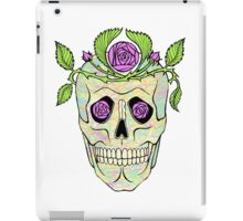 Vintage pirate skull with flowers wreath vector illustration. iPad Case/Skin