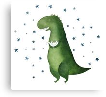 Dinosaur and cat Canvas Print