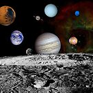 Montage of the planets and Jupiter's moons. by StocktrekImages