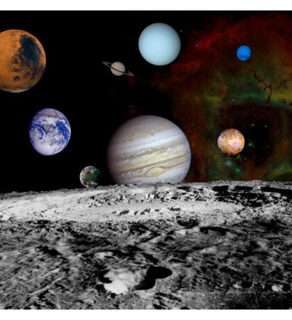 Montage of the planets and Jupiter's moons. Sticker