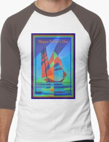Happy Father's Day Cubist Abstract Junk Boat Against Deep Blue Sky Men's Baseball ¾ T-Shirt