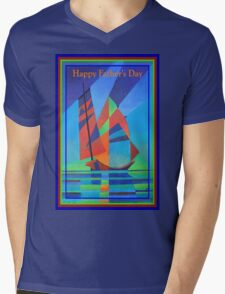 Happy Father's Day Cubist Abstract Junk Boat Against Deep Blue Sky Mens V-Neck T-Shirt