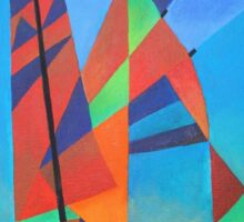 Happy Father's Day Cubist Abstract Junk Boat Against Deep Blue Sky Sticker