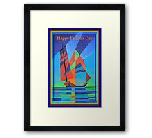 Happy Father's Day Cubist Abstract Junk Boat Against Deep Blue Sky Framed Print