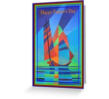 Happy Father's Day Cubist Abstract Junk Boat Against Deep Blue Sky Greeting Card