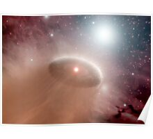 An O-star just behind a young, cooler star and its swirling disk of planet-forming material. Poster