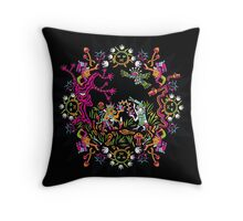 Aztec meeting psychedelic T-shirt Throw Pillow