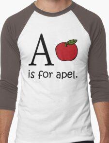 A is for Apple: Funny Alphabet Men's Baseball ¾ T-Shirt