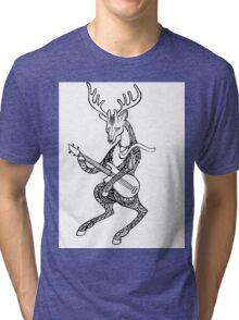 Ornamented Deer bass player. Animal playing music. Deer and bass guitar. Tri-blend T-Shirt