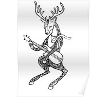 Ornamented Deer bass player. Animal playing music. Deer and bass guitar. Poster