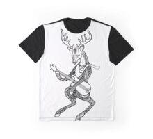 Ornamented Deer bass player. Animal playing music. Deer and bass guitar. Graphic T-Shirt