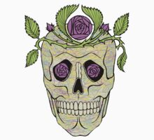 Vintage pirate skull with flowers wreath vector illustration. by Mehendra