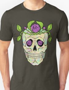 Vintage pirate skull with flowers wreath vector illustration. T-Shirt