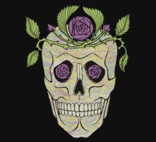 Pirate skull with flowers wreath vector illustration. by Mehendra