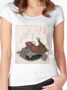 Edo Musashi Saddle Stirrup - Hokkei Totoya - 1818 - woodcut Women's Fitted Scoop T-Shirt