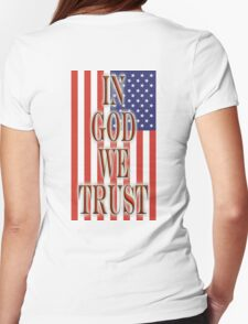 America Motto, In God we trust, USA, American, official motto, flag Womens Fitted T-Shirt