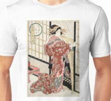 Eizan Kikukawa - Night Rain at 10 PM - Kikeyotsu - Circa 1820 - Woodcut Unisex T-Shirt