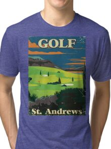 Golf St. Andrews vintage commercial poster print Tri-blend T-Shirt