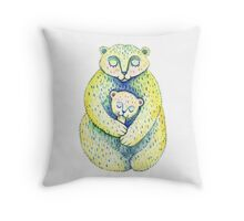 Mother bear and a small bear. Cute family. Cartoon style. Mother's Day illustration. Throw Pillow