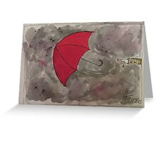 The Red flying Umbrella -Der fliegende rote Regenschirm Greeting Card
