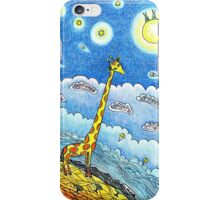 Funny giraffe meet aliens iPhone Case/Skin