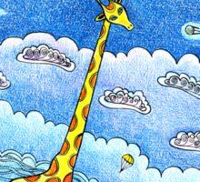 Funny giraffe meet aliens Sticker