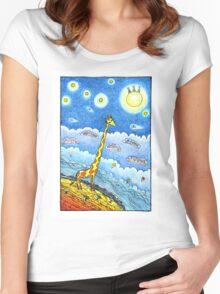Funny giraffe meet aliens Women's Fitted Scoop T-Shirt