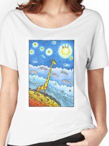 Funny giraffe meet aliens Women's Relaxed Fit T-Shirt