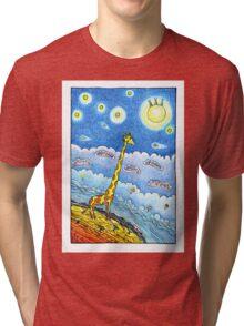 Funny giraffe meet aliens Tri-blend T-Shirt