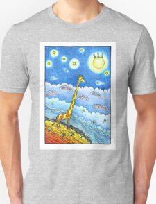Funny giraffe meet aliens Unisex T-Shirt