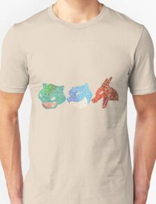 Pokemon - Kanto Starters - Typography T-Shirt