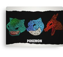 Pokemon - Kanto Starters - Typography Canvas Print